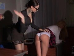 Schoolgirl over the knee of mistress and spanked videos