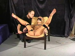 Blindfolded blonde girl smacked with his cane videos