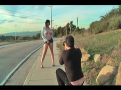 Brunette does public upskirt photo shoot movies at kilosex.com