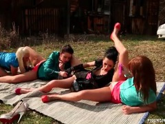 Lesbian group sex outdoors with toys and pissing videos