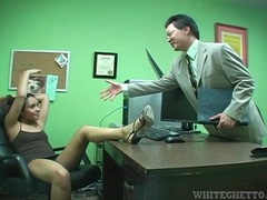 Upskirt and footjob tease in her office movies at kilotop.com