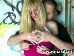 Blonde whore fucks a dude and her gf watches movies at find-best-pussy.com