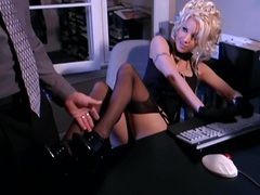 Secretary fantasy sex in stockings and a garter tubes