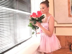 Pink ballerina outfit and ruffled panties on teen videos