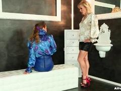 Elegant satin blouse girls in lesbian video videos