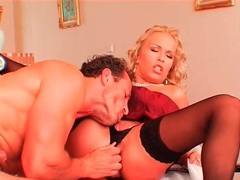 Big titty blonde in stockings sits on his cock movies at sgirls.net
