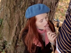 Redhead in winter clothes blows him outdoors movies at kilotop.com