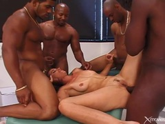 Interracial gangbang ends with cumshots on her face movies at kilosex.com