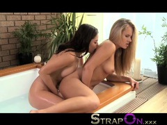 Strapon hot young hispanic babe fucked in hot tub by lesbian wearing a black cock videos