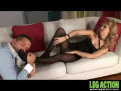 Her gorgeous legs in black pantyhose give a footjob videos