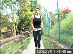 Fit girl with big tits goes for a jog movies