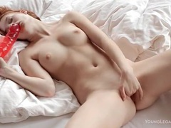 Redhead sucks big dildo and plays with pussy videos