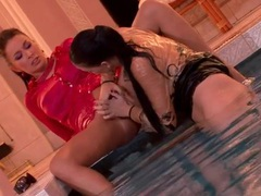 Dildo sex in the pool with two lesbians videos