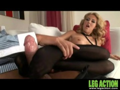 Black pantyhose girl gives him an erotic footjob videos