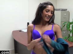 Office striptease and orgasm movies at sgirls.net