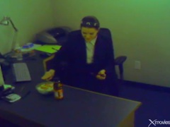 Office chick plays with pussy instead of eating movies at very-sexy.com