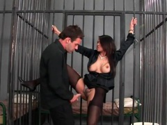 Prison sex with a busty girl in black stockings videos