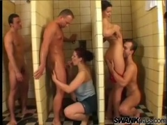 Orgy in the showers with a set of curvy women movies at sgirls.net