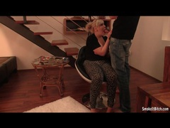 Chubby blonde in skintight pants sucks and smokes movies at sgirls.net