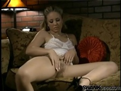 Gorgeous seamed pantyhose and white lingerie on her videos