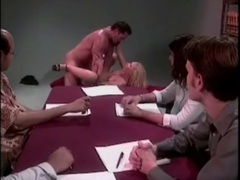 Office group watches sexy blonde get fucked in the ass movies