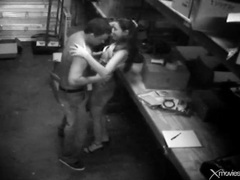 Bending over a horny babe at work and fucking videos