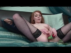 Cute redhead in fishnet stockings masturbates movies at kilotop.com