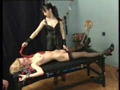 Bound slaves in the dungeon of sexy mistress videos