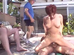 Redhead wife blacked by dudes as hubby watches videos