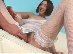 White fishnet lingerie on a beautiful japanese girl videos