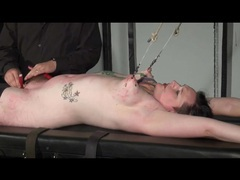 Bondage pulls on her tits as he does hot wax play movies at kilotop.com