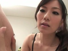 Japanese beauty licks his nips and sucks his dick tubes at japanese.sgirls.net