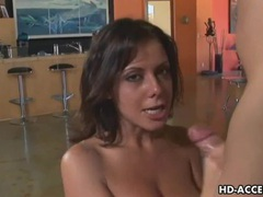 Brunette babe dishes out handjob and titjob movies at kilopics.net