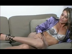 Her satin blouse and pantyhose are insanely sexy videos