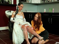 Bride in dress and gloves gets her hair washed movies at lingerie-mania.com