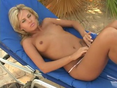 Tanned naked chick finger bangs and toy fucks outdoors movies at find-best-mature.com