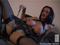 Solo girl in black latex dress and dark lipstick movies at find-best-videos.com
