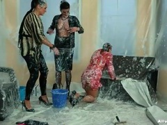 Three women completely covered in messy goo videos