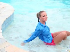 Hot girls playing and fooling around in pool movies at freekilomovies.com