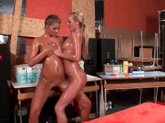 Pussy eating girls put their leather pants back on videos