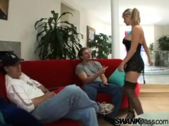 Goddess in black lingerie grinds in his lap and sucks cock movies at freekilosex.com