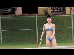 Japanese beauty plays bikini on tennis court videos