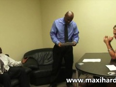 A blonde secretary fucks two black dudes videos