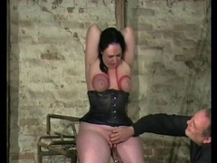Curvy girl in tight black corset has bound tits movies at kilotop.com