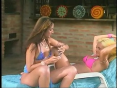 Bikini girls fool around poolside and look sexy movies at find-best-panties.com
