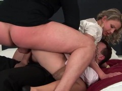 Double penetrated slut in a sexy satin blouse videos