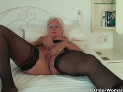 Curvy granny in black stockings rubs her old clit movies at sgirls.net