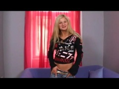 Teen blonde in jeans does a striptease for you movies at dailyadult.info