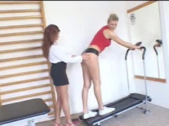 Fit women in the gym have nipple sucking sex movies at sgirls.net