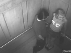 Elevator security cam gets couple fucking movies at freekilomovies.com